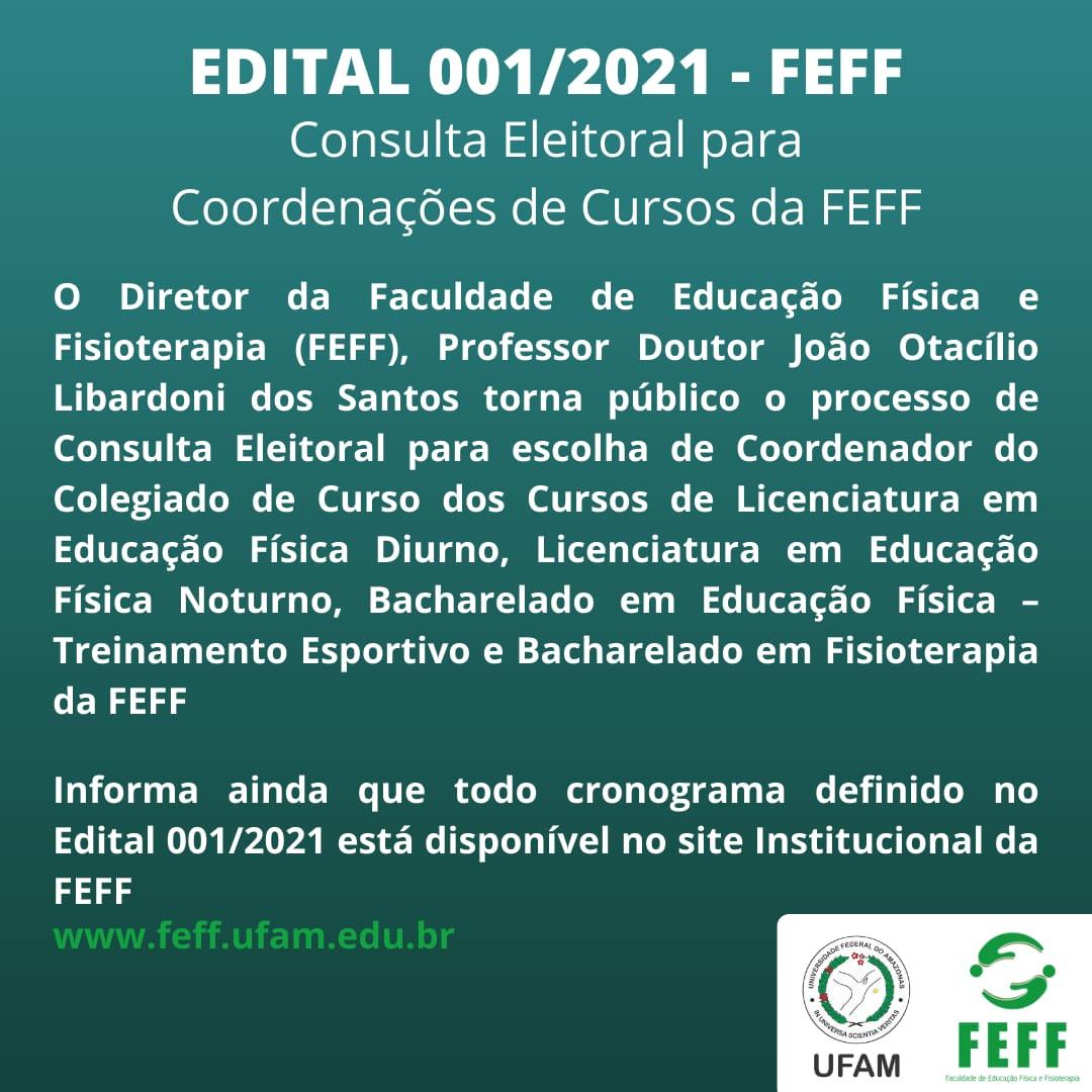 CONSULTA ELEITORAL PARA COORDENAÇÕES DE CURSOS DA FEFF