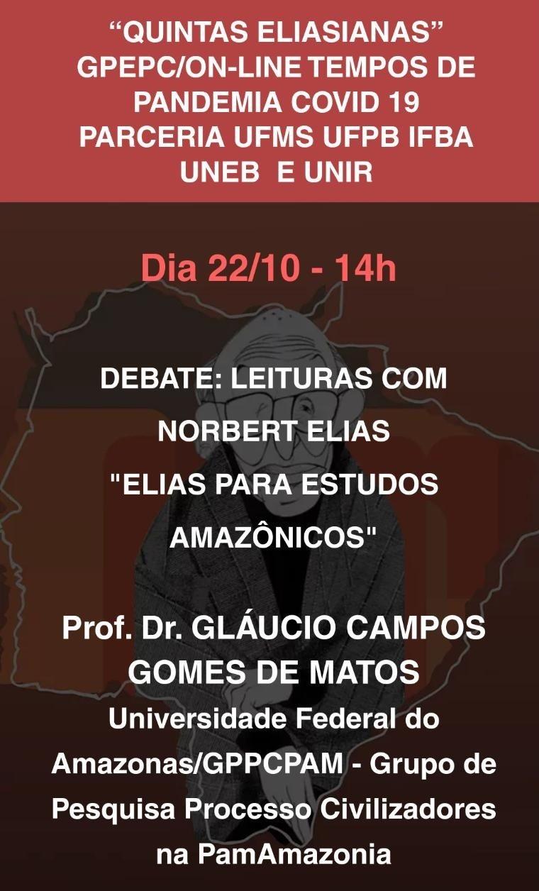 Convite para a live dia 22/10/2020  Convidado Prof. Gláucio Campos