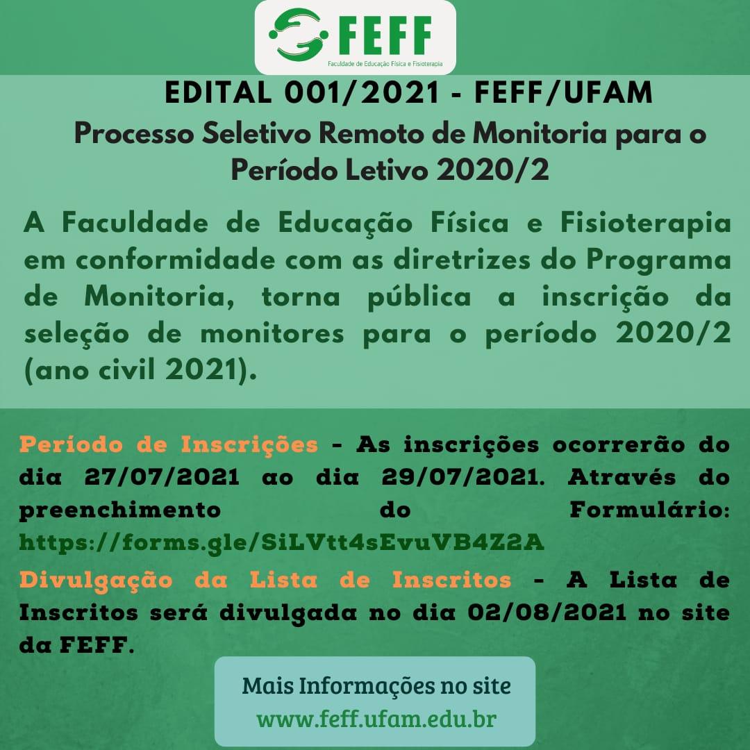 Processo Seletivo Remoto de Monitoria para o Período Letivo 2020/2 (ANO CIVIL 2021)